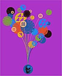 彩色气球骷髅头抽象图案矢量素材