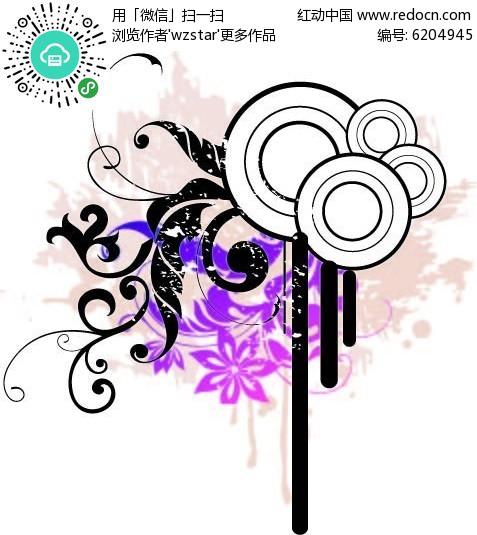 黑白花藤设计图片