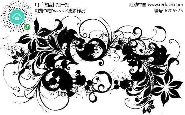 花朵黑白花纹图片