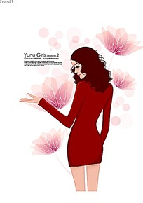 红色短裙粉色花朵矢量素材