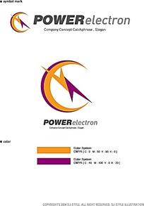 闪电橘紫撞色标志设计
