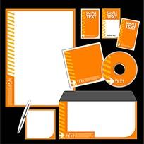 橙色简洁CD封面信封信纸卡片设计模板