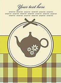 手绘花茶壶格纹背景AI矢量素材黄色海报