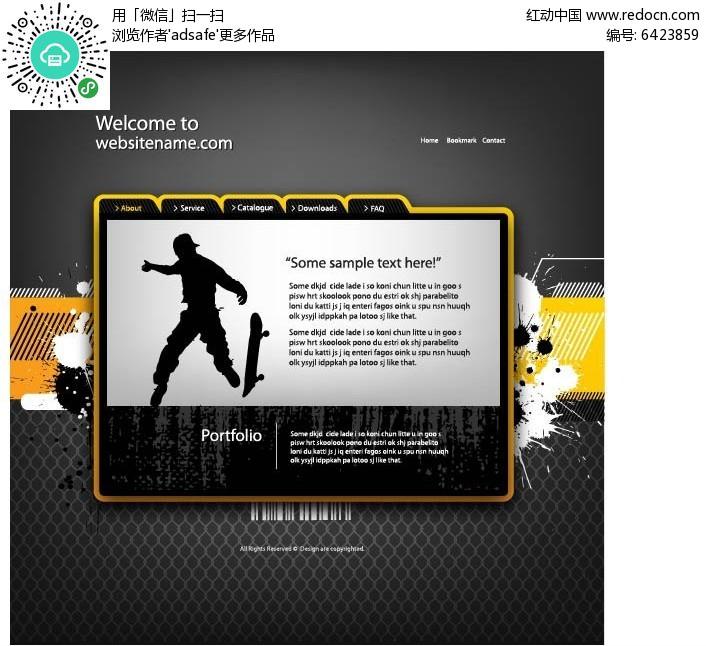 运动英文网站矢量ai素材网页设计模板