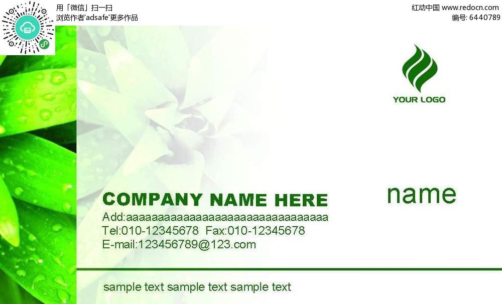 清新绿色树叶名片背景素材