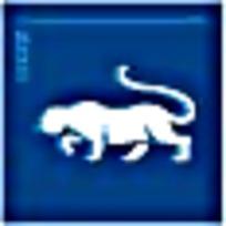 非洲豹卡通动物蓝色标志图案素材
