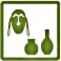 陶瓷面具草绿色简约图案标识