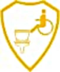 残疾人厕所黄白盾牌标志图案素材