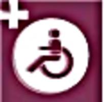 残疾人医护紫红色图标素材