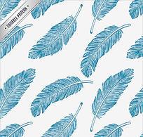 蓝色羽毛无缝背景矢量素材