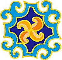 蓝黄四角图案素材