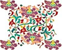 彩色矢量花纹边框素材
