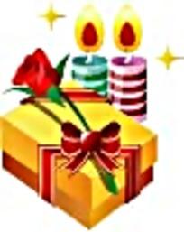 金色礼物盒和两支蜡烛