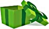 绿色打开礼物盒