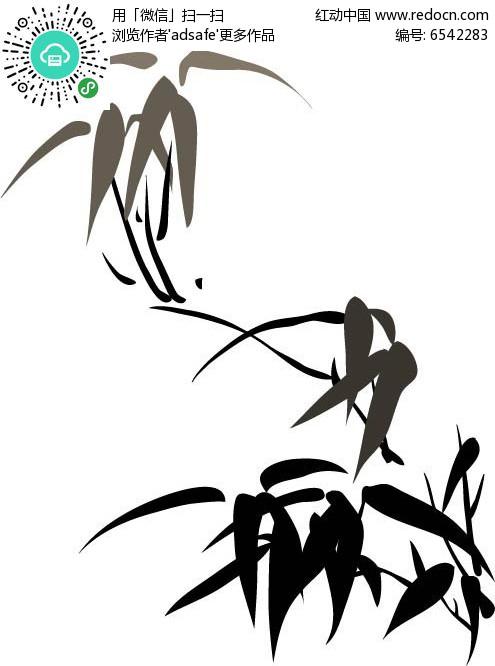 仙鹤竹叶印花图案