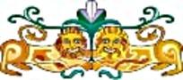 对称姿态的两只金色狮子艺术图案