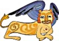 金色长翅膀的狮子扒地下艺术图案素材