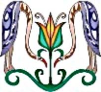 对称大雁艺术图案素材