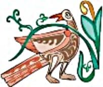 鸟类彩绘艺术图案素材