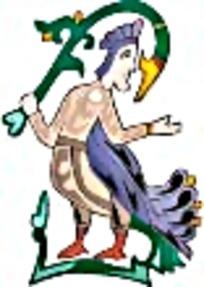 鸟身人面异兽艺术图案