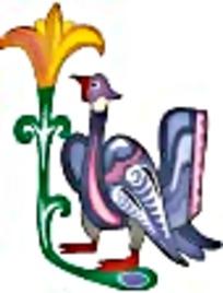 彩绘大鸟与喇叭花艺术图案