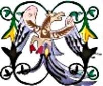 彩绘异兽展翅艺术图案