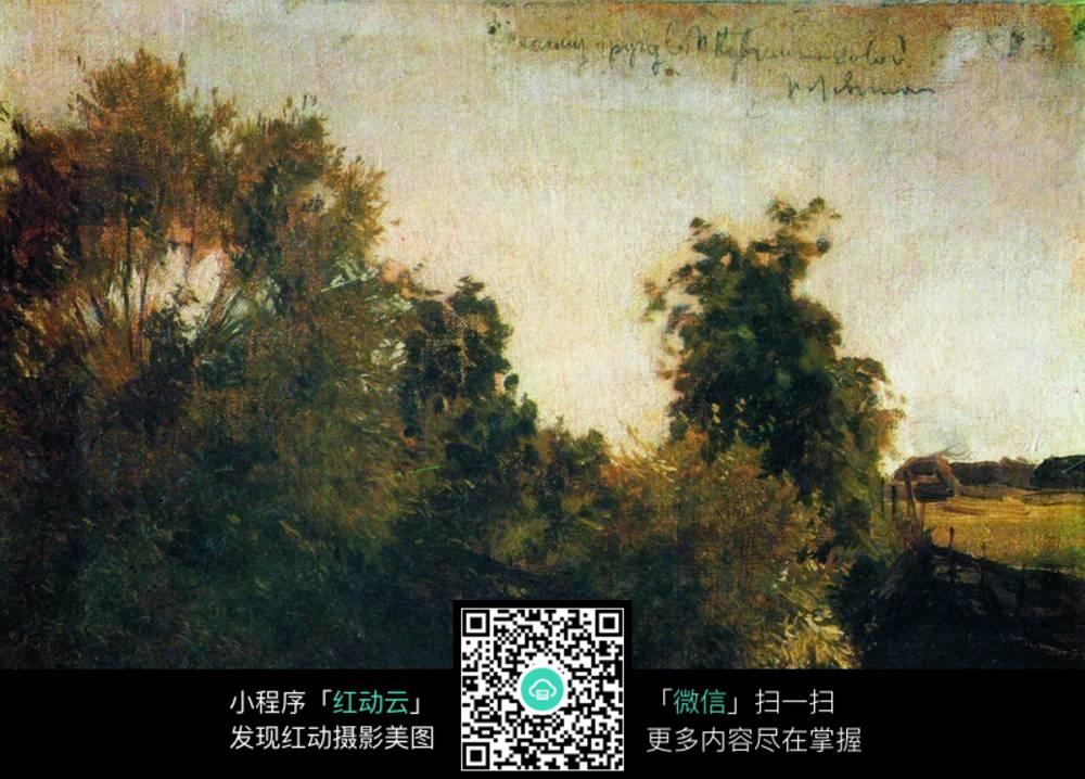 欧式树木油画图片