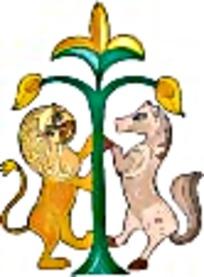 狮子与马对称姿态艺术图案