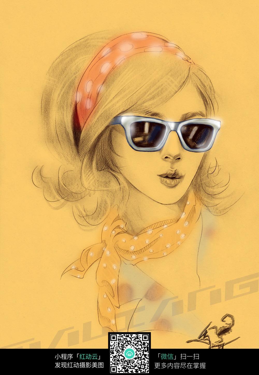 戴墨镜的女孩素描画