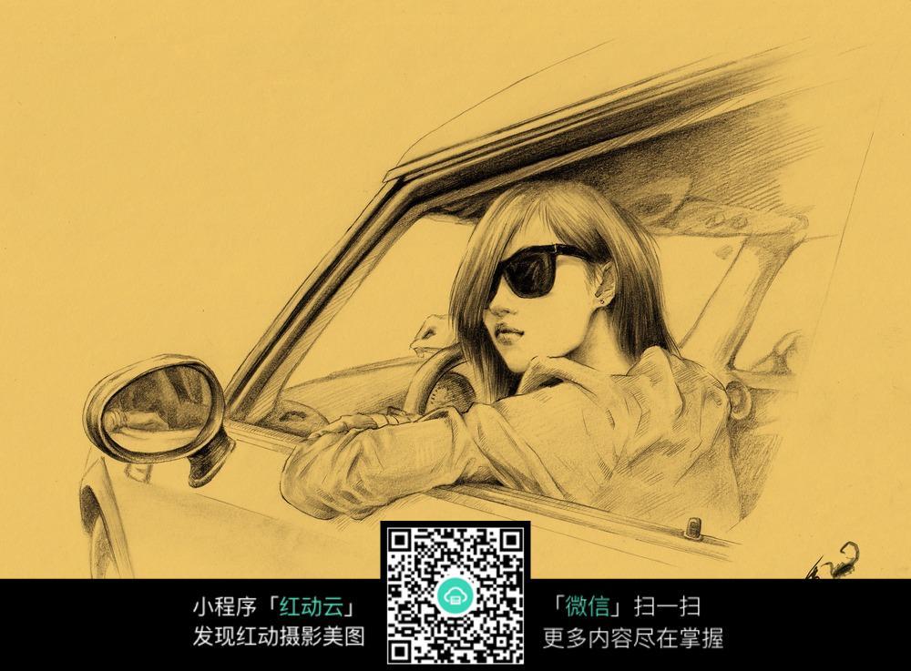 开车的女孩素描画图片免费下载 编号6609545 红动网