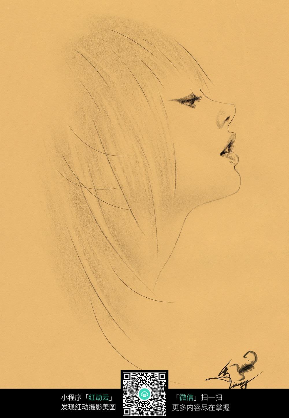 人物侧面素描画