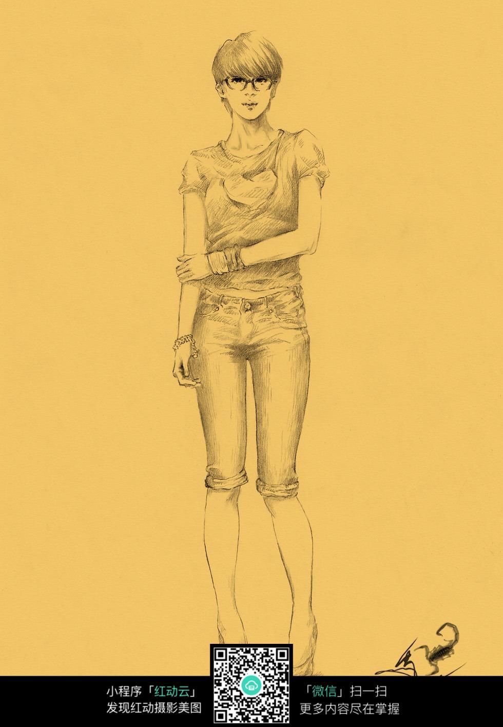 少女全身照素描画