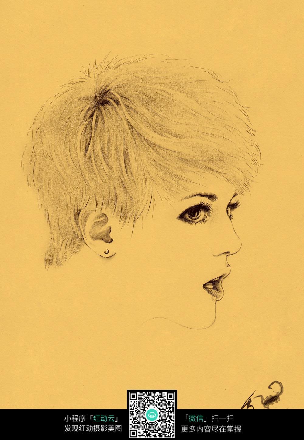 帅气短发女孩素描画