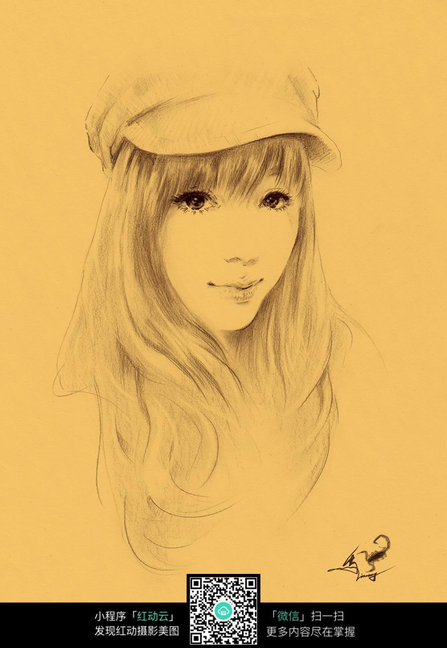 戴贝雷帽的女孩素描画图片免费下载 编号6609645 红动网