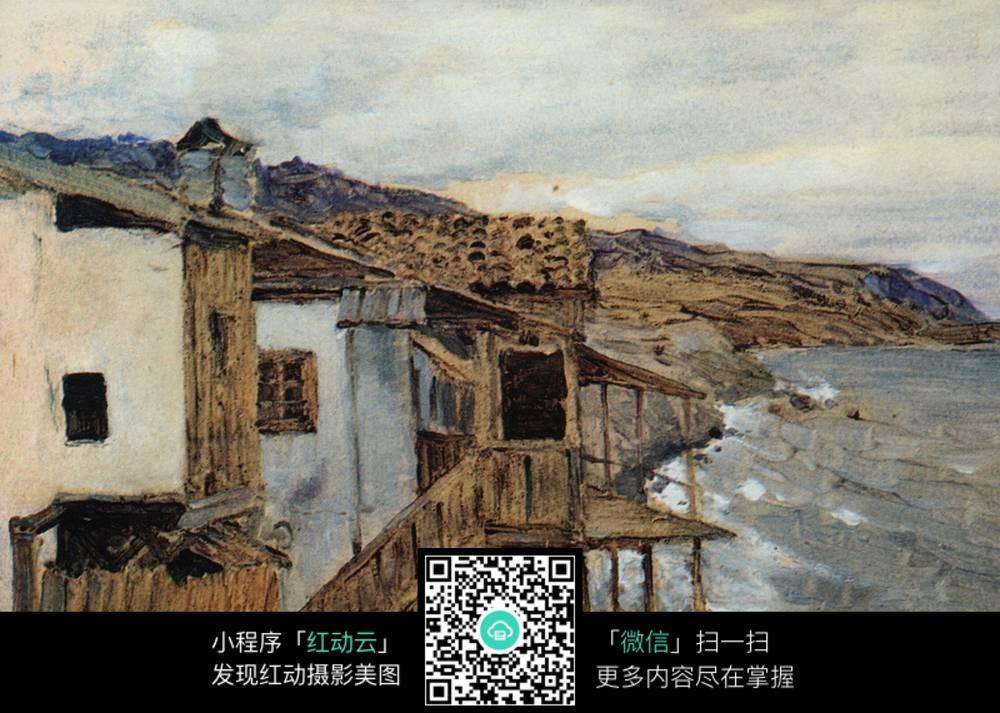 海边房屋风景油画