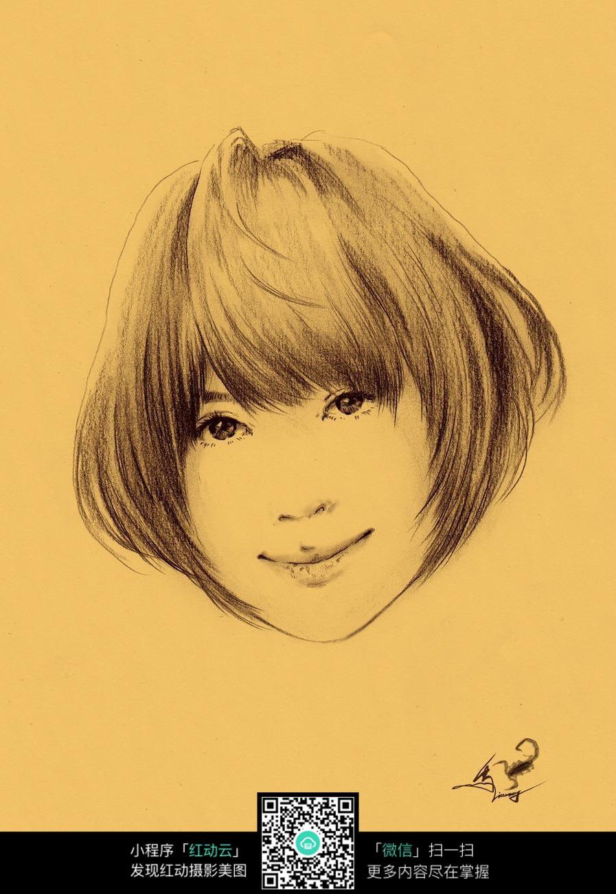 可爱短发少女素描画