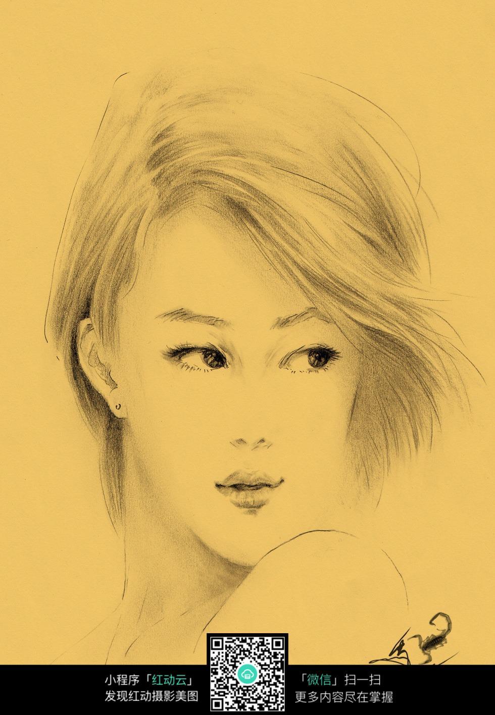 女孩侧颜素描画