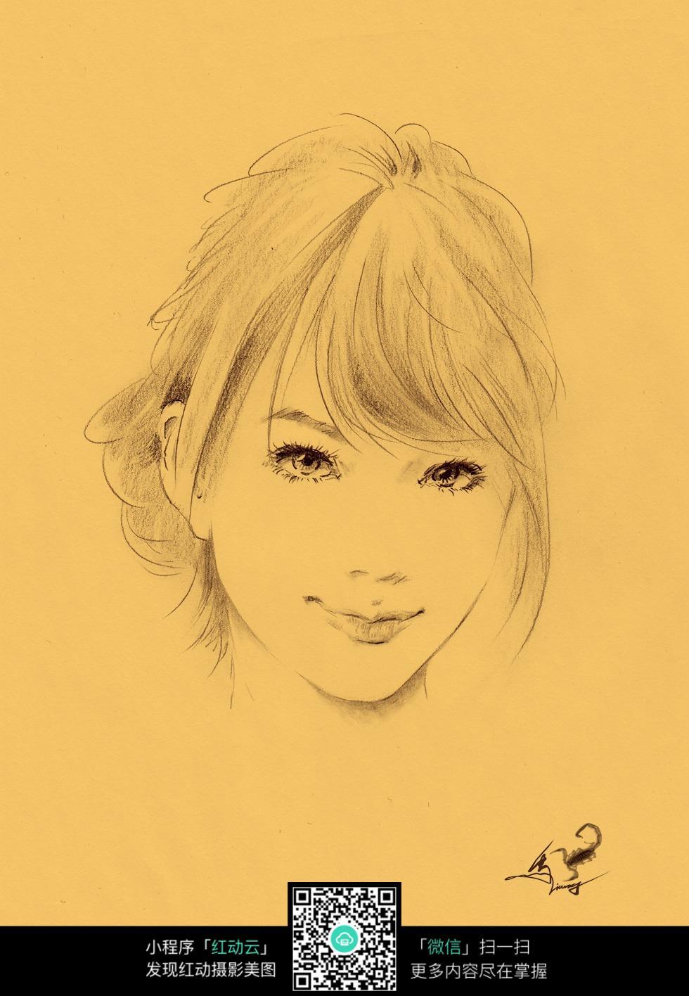 日系少女素描画图片