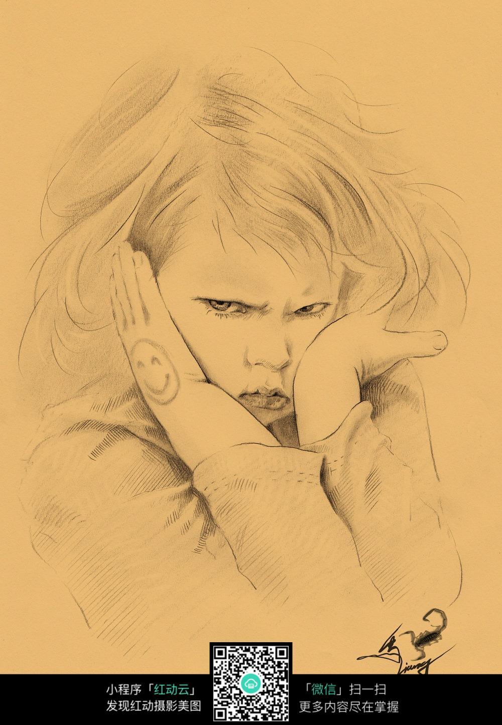 生气的孩子素描画