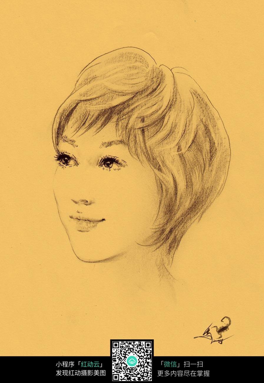 帅气短发少女素描画