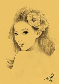 唯美女性素描画
