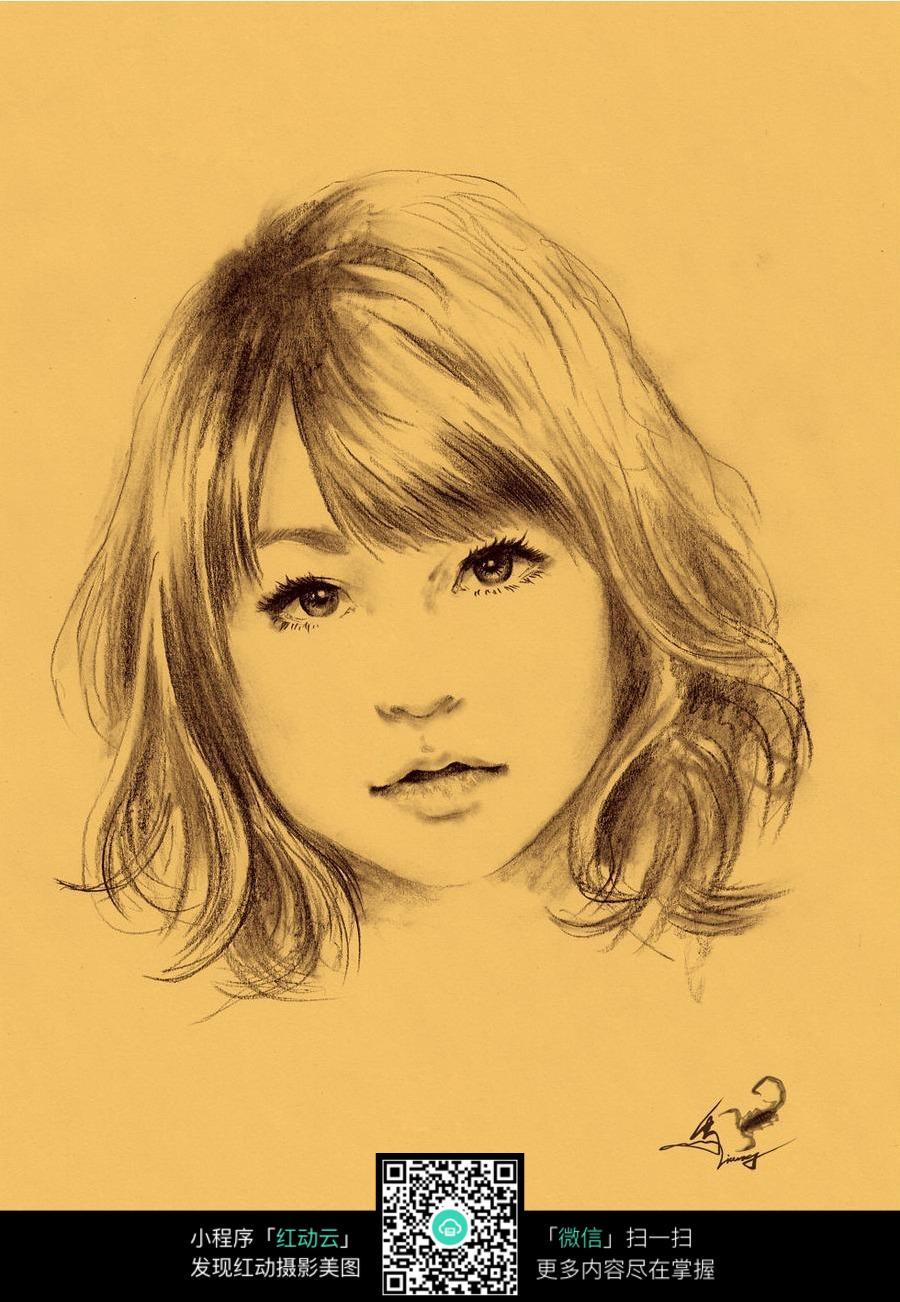 小女孩素描画