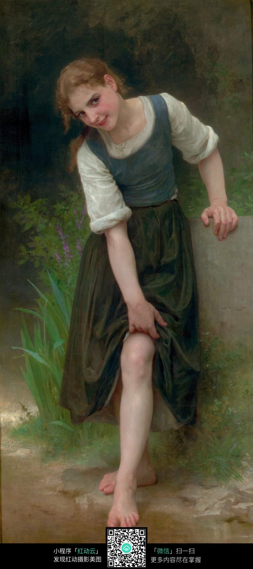戏水的少女人物油画素材