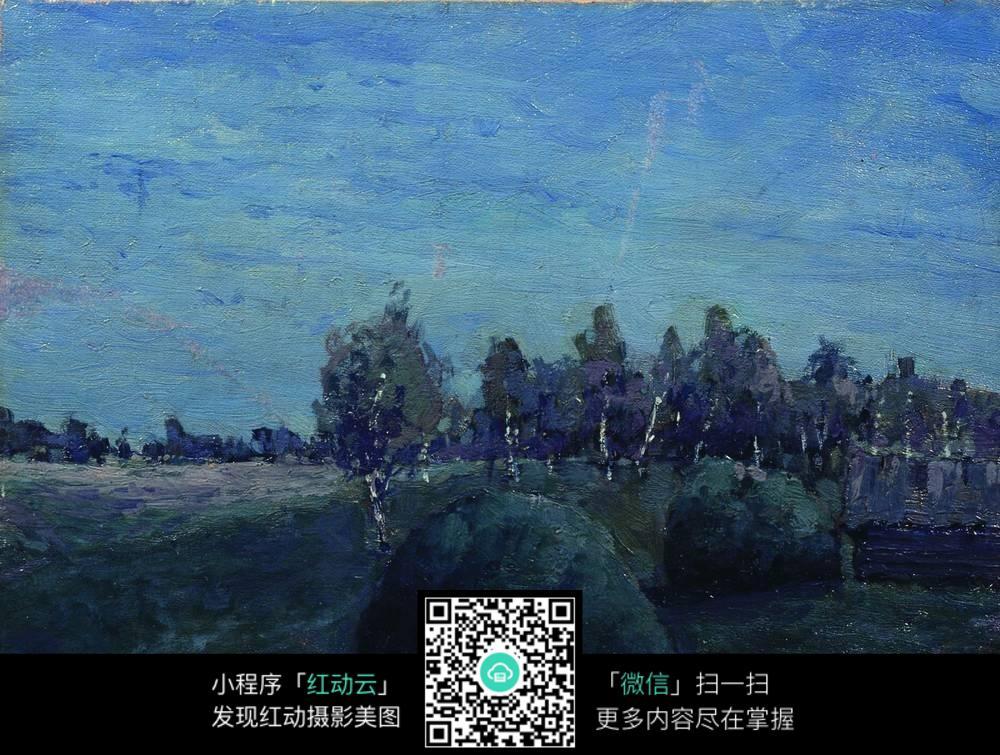 夜晚的树林油画图片