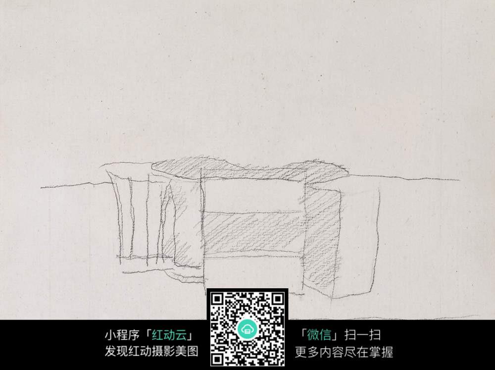 正方形家具速写手绘图