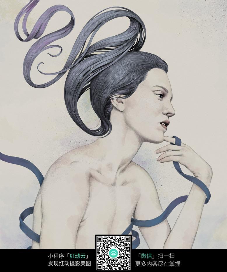 缠绕蓝色丝带的女人铅笔画