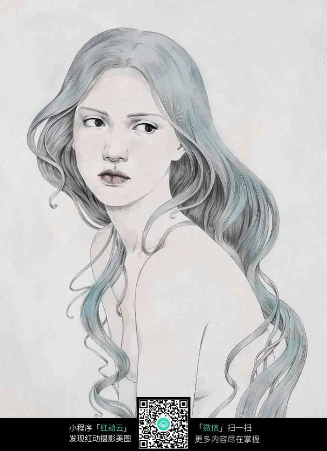 大波浪头发的女人素描画