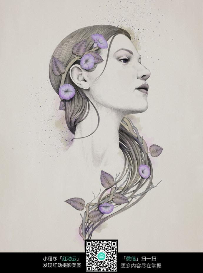 戴着而紫色花卉的的女人铅笔画