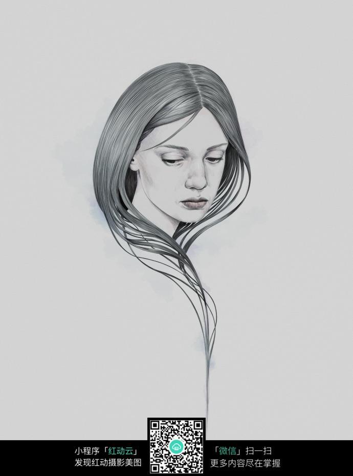 低头的女人铅笔画