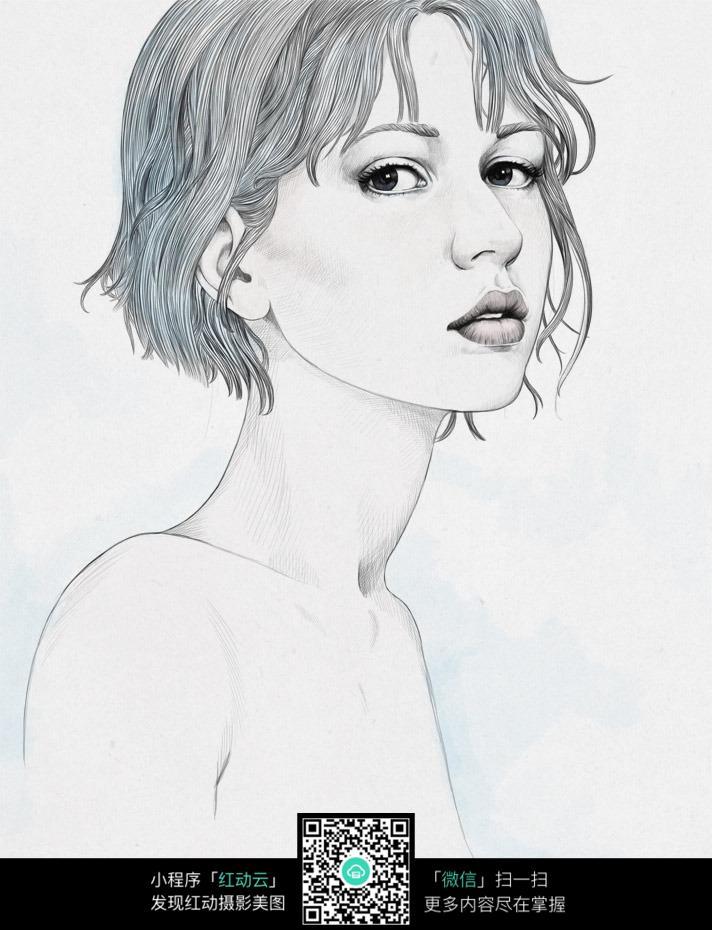 短发女性素描画
